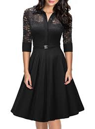 Vintage 1950s Style 3 4 Sleeve Black Lace Flare A Line Dress