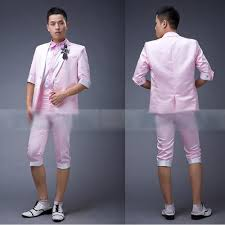 Mens Light Pink Cropped Sleeve Pants Casual Dress Suits For Prom SKU 123010 This Would