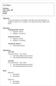 College Graduate Resume Template Job For Student Summer