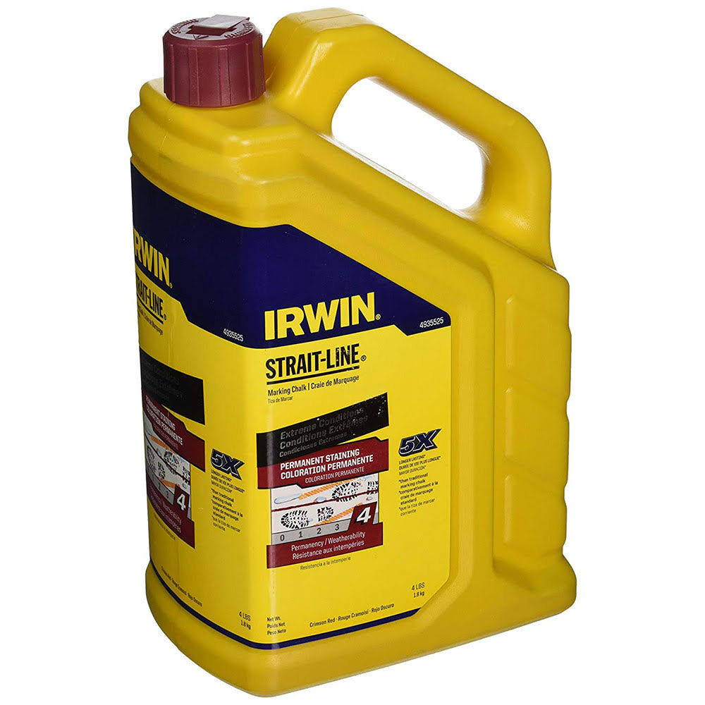 Irwin Tools Strait Line Permanent Staining Marking Chalk - Crimson Red, 4lbs