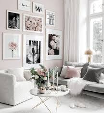 elegante pinke fashion bilderwand blumenposter goldrahmen