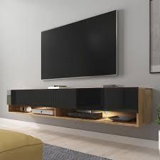 selsey wander tv board fernsehschrank für wohnzimmer hängend stehend 180 cm breit holzoptik wotan eiche schwarz hochglanz mit led