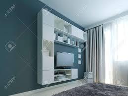 wohnzimmer mit wandschrank trend weiße wandschränke und lcd tv in der nähe eines fensters lackierte wand in marinefarbe grauer wollteppich 3d