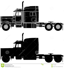 Silhouette Of A Truck Peterbilt 379. Stock Illustration ...