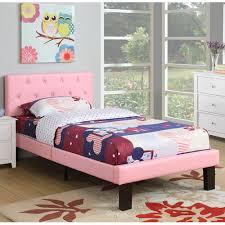 Poundex Pink PU Upholstered Twin Size Platform Bed Walmart