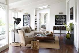 Contemporary Living Room With Rustic Modern Furniture Of Coffee Table