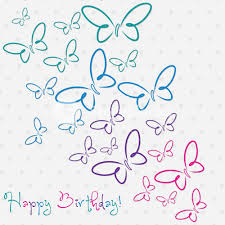 Hand Drawn Happy Birthday Butterfly Card In Vector Format