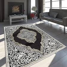 paco home teppich wohnzimmer kurzflor vintage ornamente orient muster schwarz creme gold grösse 80x150 cm