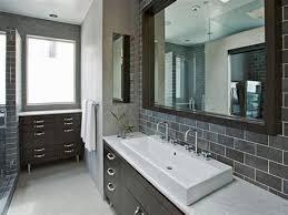 bathroom ideas oversize gray subway tile backsplash slate marble