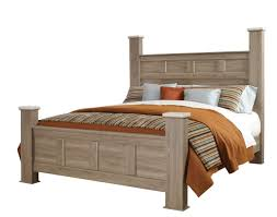 Furniture Stonehill Queen Poster Bed in Weathered Oak Q