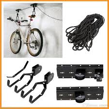 bicycle lift ceiling mounted hoist storage garage hanger pulley