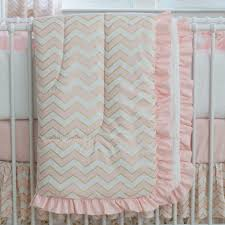 Pink Ruffled Window Curtains by Pale Pink And Gold Chevron Crib Comforter Carousel Designs