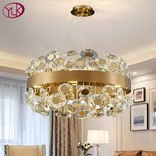 luxus schwarz gold kristall licht kronleuchter beleuchtung runde hängen leuchten runde moderne wohnzimmer suspension draht len