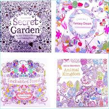 Adult Coloring Books 4 Designs Secret Garden Animal Kingdom Fantasy Dream And Enchanted Forest 24 Pages Kids Painting Colouring Invitation