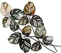 gilde wanddekoobjekt wandrelief branch grün braun wanddeko höhe 67cm aus metall blätterzweige wohnzimmer grün wanddekoration deko wohnaccessoires
