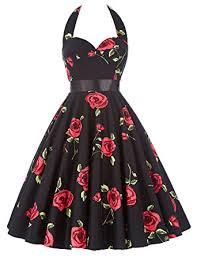 Women Homecoming Party Dresses Sleeveless 50s Retro Rose Dress 75 28 S