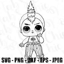 Coloring Page NightFall Boy Doll LOL Surprise SVG JPEG Hi Def LOL EPS DXF PNG Topper Sublimation Design File