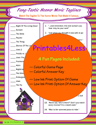 Scary Halloween Riddles And Answers by Halloween Movie Trivia Game Halloween Game Printable