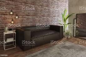 gemütliches wohnzimmer mit sofa und ziegelwand stockfoto und mehr bilder architektur