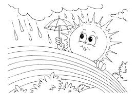 Full Size Of Coloring Pages Rain Mrs Sun Using Umbrella During A Rainbow Page Large