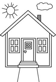 House Coloring Page Cut Out Shapes For Windows Door Etc