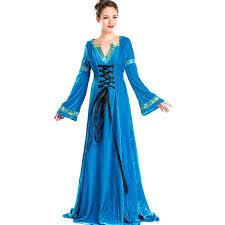 Blue Renaissance Princess Fancy Dresses European Retro Medieval Fantasias Outfit Uniform Womens Halloween Themed Party Costume
