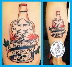Scary Grave Tattoo On Leg