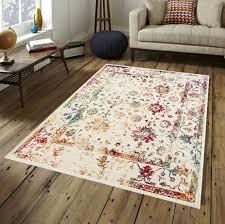 vintage teppich bunt rot orange blau gruen weiß muster