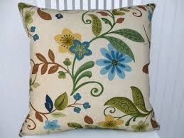 Blue Green Pillow Cover Floral Pillow 18x18 or 20x20 or 22x22