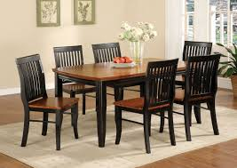 black and brown painted oak mission style dining room set with