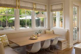 Banquette Seating Ideas With Build In Bench And Long Wooden Table White Chairs Plus Cushions