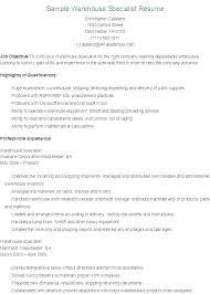 Professional Warehouse Resume Data Sample