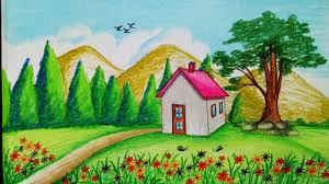 How To Draw Spring Season Scenery With Oil PastelStep By Stepeasy