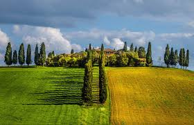 Tuscany Italy Field Trees Villages Clouds Spring Green Nature Landscape Wallpaper And Background