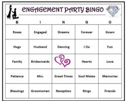 Engagement Party Bingo Game 60 Cards Wedding Themed Words Very Fun