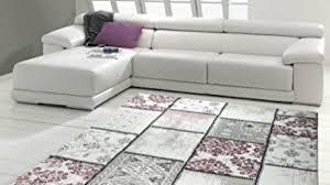 edler designer teppich moderner teppich wohnzimmer teppich patchwork vintage meliert karo muster in lila creme grau rosa