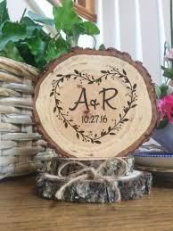 Rustic Wedding Cake Topper Heart Wood Engraved Custom Decor