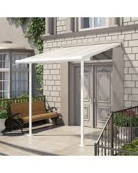 Deals on Palram Sierra 8 x 8 ft Patio Door Awning White Clear
