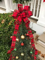Small Christmas Tree Topper Bow With Long Tails Flannel