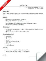 Example Resume For Internship Computer Science Student Sample Graduate