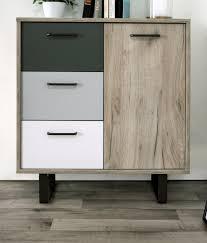 kommode orlando in eiche grau mit anthrazit weiß und grau anrichte tricolor 80 x 86 cm sideboard