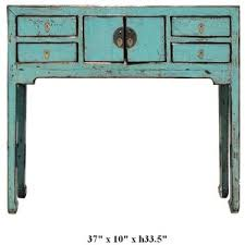 Rustic Style Turquoise Color Moon Face Narrow Console Altar Table