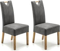 robas lund esszimmerstuhl 2er set grau dunkel stuhl mit kunstlederbezug küchenstuhl mit massivholzgestell eiche geölt stuhl elida