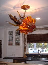 blown glass chandelier jellyfish light installation transitional