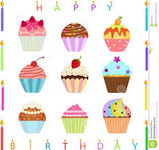 happy birthday with cupcake clipart
