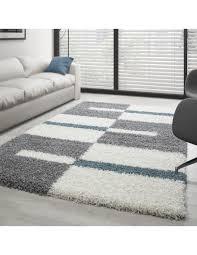 hochflor langflor wohnzimmer shaggy teppich florhöhe 3cm grau weiss türkis