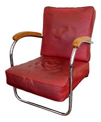 1930s Vintage Art Deco Metal Red Vinyl & Chrome Lounge Chair