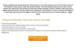 Aluminum Floor Jack 3 Ton Capacity by Deal Arcan Alj3 T Aluminum Floor Jack 3 Ton Capacity