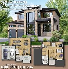 100 Modern Hiuse Plan 80917PM Contemporary 3Bedroom House Plan With 2Car