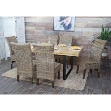 2x esszimmerstuhl hwc h14 stuhl rattanstuhl küchenstuhl korbstuhl massivholz rattan braun grau ohne kissen